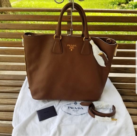 7288a327f961 Prada Bags | Vitello Daino Gold Detail Shopper Tote Bag | Poshmark